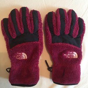 North Face furry fleece e-tip gloves, EUC, S
